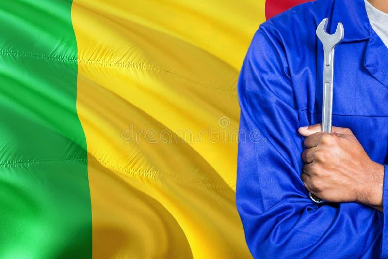 蓝色制服的马里技工拿着板钳反对挥动马里旗子背景 横渡的胳膊技术员 免版税库存图片