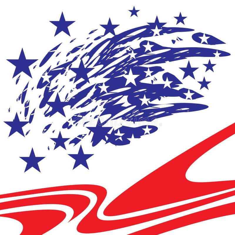 蓝色刷子冲程飞溅与白色和蓝星的和在基地的红色条纹 皇族释放例证