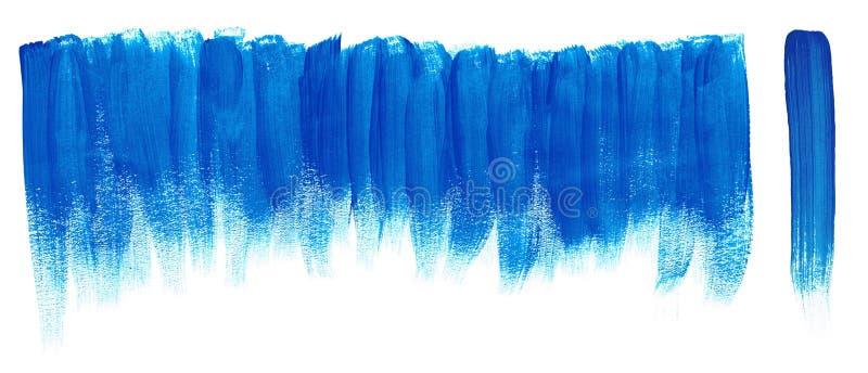 蓝色刷子油漆冲程 库存例证