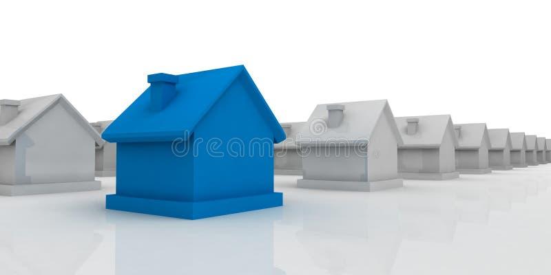 蓝色前景房子 向量例证