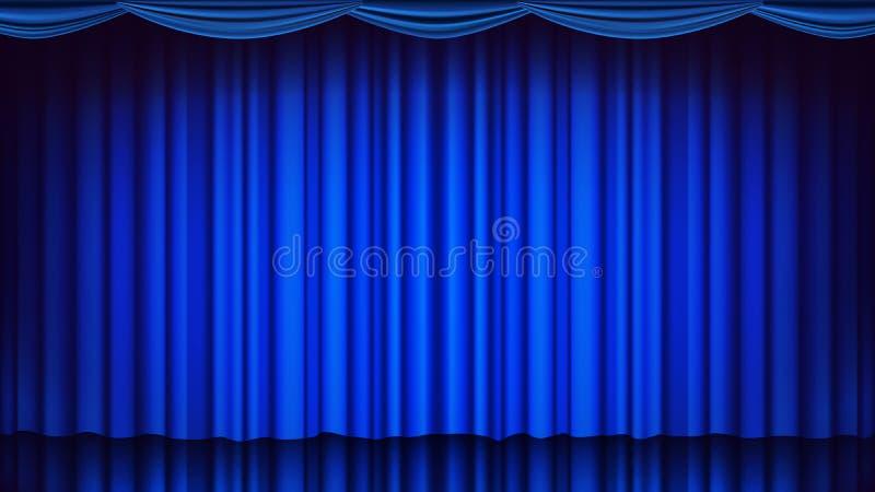 蓝色剧院帷幕传染媒介 剧院、歌剧或者戏院空的丝绸阶段,蓝色场面 可实现轻快优雅的例证 向量例证