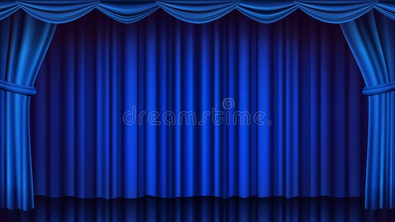 蓝色剧院帷幕传染媒介 剧院、歌剧或者戏院闭合的场面 现实蓝色装饰例证 向量例证