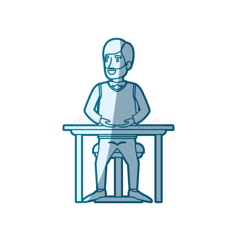 蓝色剪影遮蔽正装和头发边的有胡子的人分开了和坐在桌面的椅子 皇族释放例证