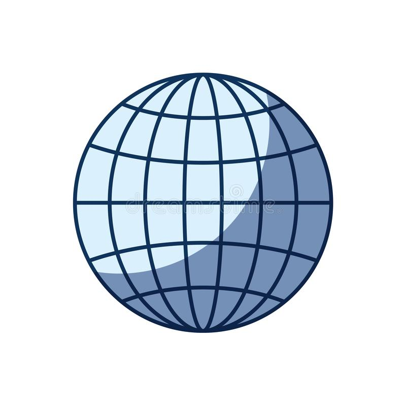 蓝色剪影遮蔽正面图地球地球与线的世界图 向量例证