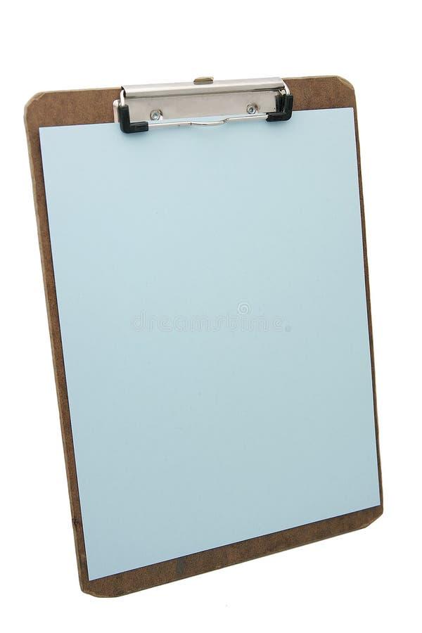 蓝色剪贴板纸张 图库摄影