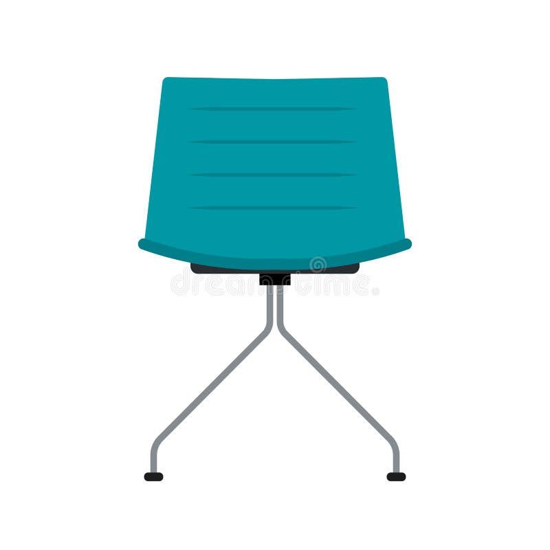 蓝色办公室椅子传染媒介平的象正面图 舒适的放松标志内部家具设备没人 皇族释放例证