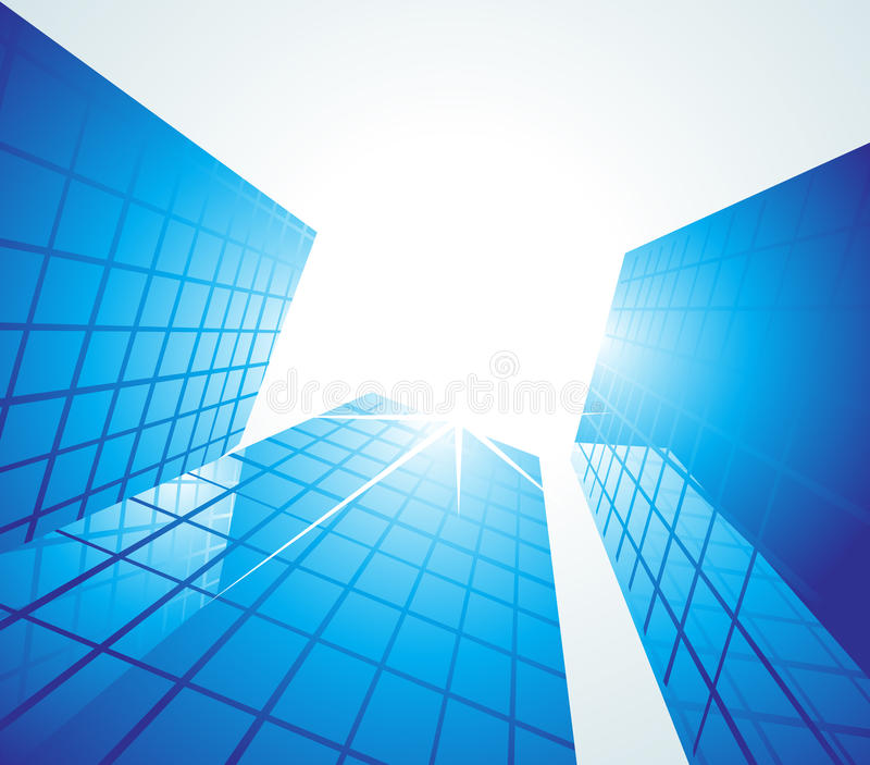 蓝色办公楼 免版税库存图片