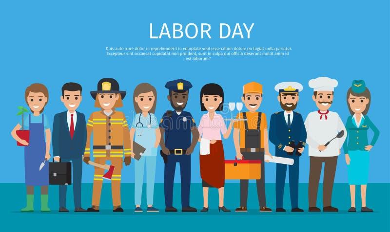 蓝色动画片图画的劳动节工作者 向量例证