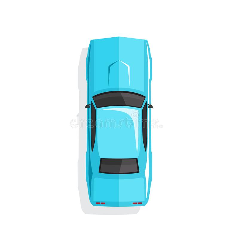 蓝色动画片肌肉汽车 顶视图 也corel凹道例证向量 皇族释放例证