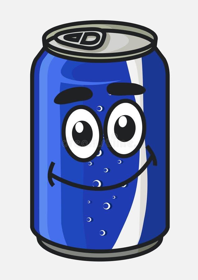 蓝色动画片苏打或软饮料能 库存例证