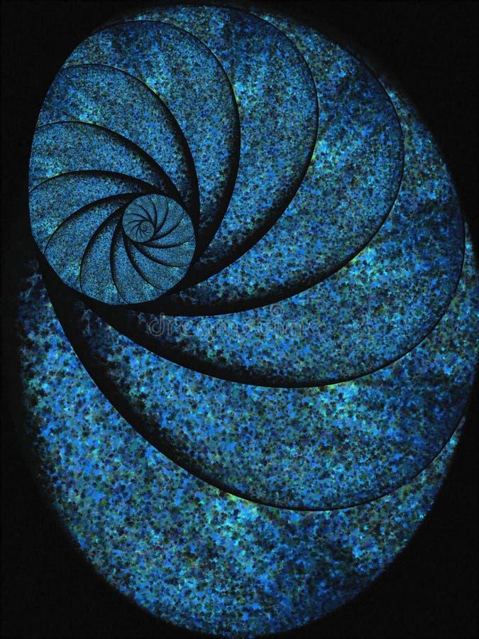 蓝色化石壳蜗牛螺旋 库存例证