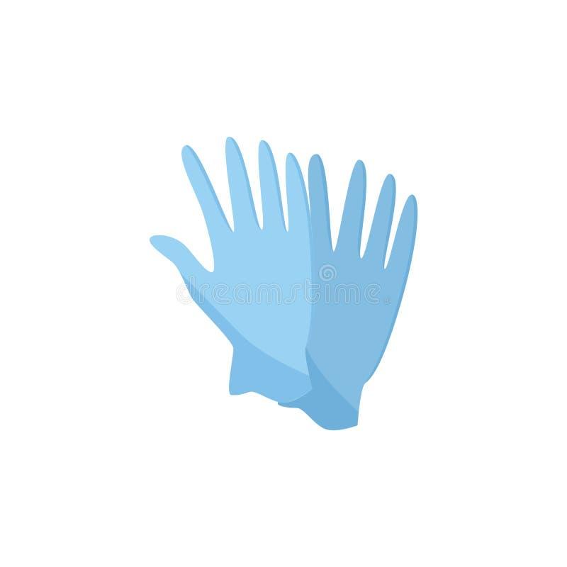 蓝色医学或家务防护乳汁手套导航在白色的例证 库存例证