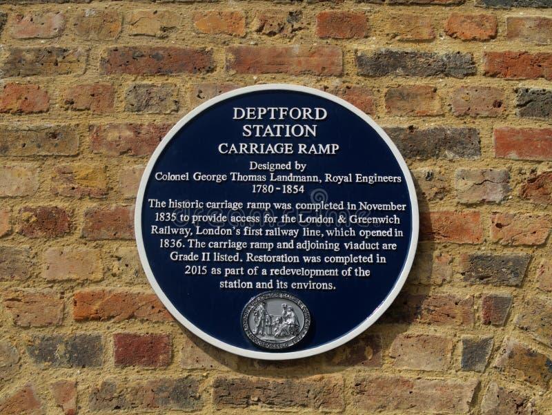 蓝色匾标号Deptford驻地支架舷梯,伦敦,英国 免版税库存照片