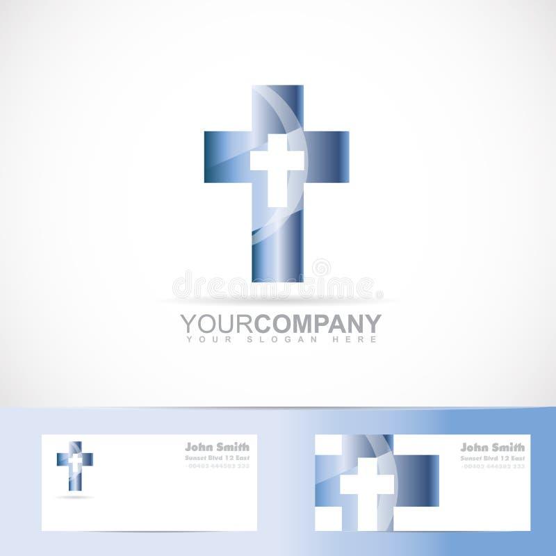 蓝色十字架3d金属商标 库存例证
