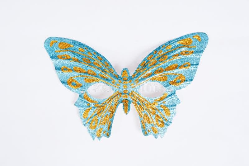 蓝色华丽狂欢节面具 免版税图库摄影