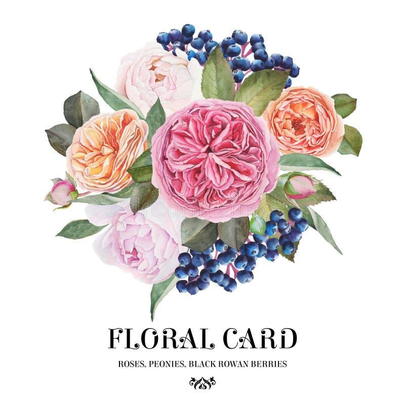 蓝色卡片设计花卉问候 水彩玫瑰,牡丹,黑花楸浆果花束  库存例证