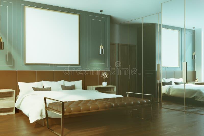 蓝色卧室内部,被定调子的海报边 库存例证
