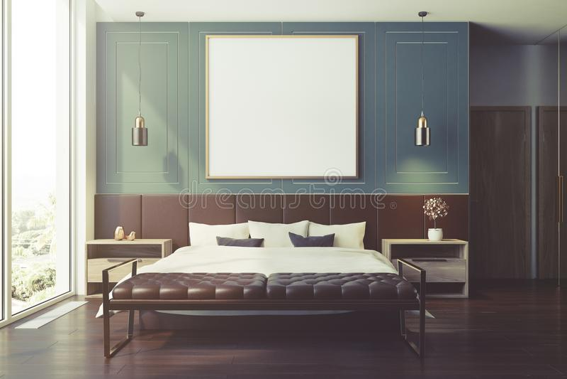蓝色卧室内部,被定调子的海报 皇族释放例证