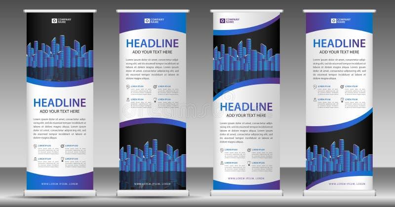 蓝色卷起横幅模板,站立设计,拔,显示,广告,企业飞行物,海报,介绍,公司,网 皇族释放例证