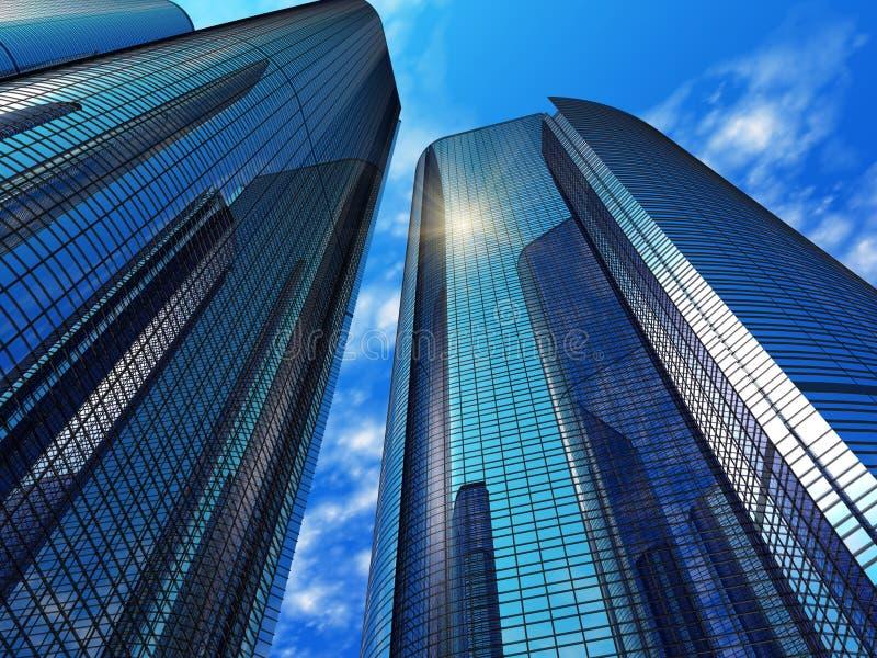 蓝色反射性大厦现代的办公室 皇族释放例证