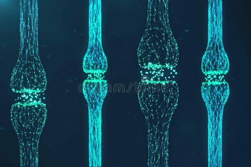 蓝色发光的突触 在人工智能的概念的人为神经元 脉冲突触神经的送电线  库存例证