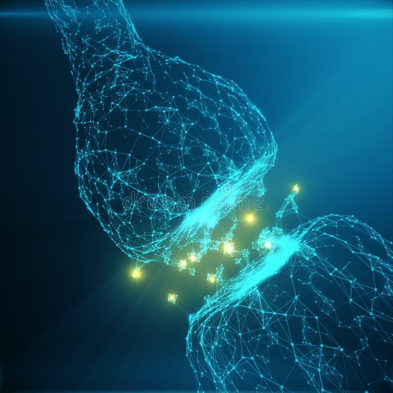 蓝色发光的突触 在人工智能的概念的人为神经元 脉冲突触神经的送电线  免版税库存照片