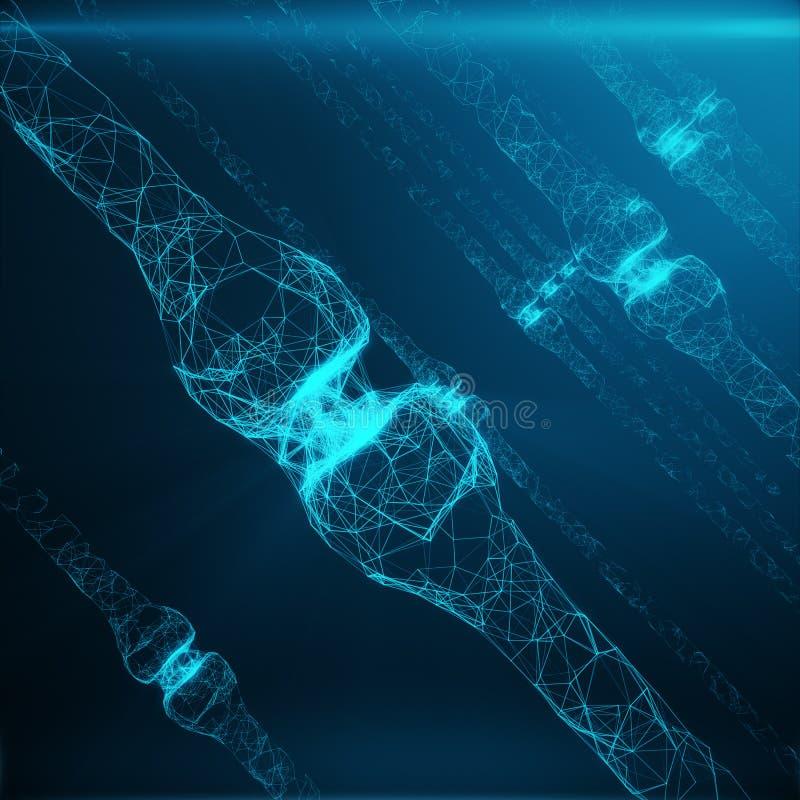 蓝色发光的突触 在人工智能的概念的人为神经元 脉冲突触神经的送电线  库存照片
