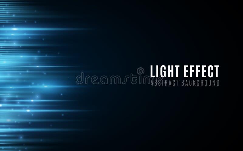 蓝色发光的线抽象背景与微粒的 r 在黑暗的背景的未来派被弄脏的霓虹线 ?? 向量例证
