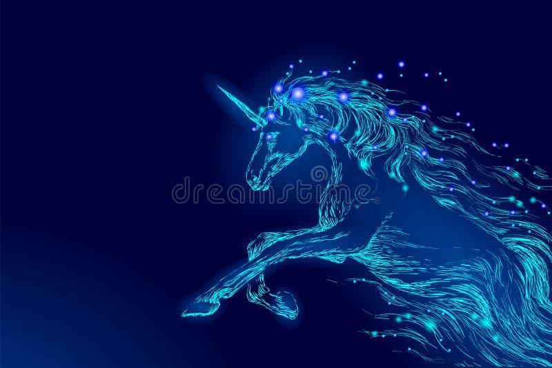 蓝色发光的马独角兽骑马夜空星 创造性的装饰不可思议的背景光亮的波斯菊空间垫铁神仙 免版税库存照片