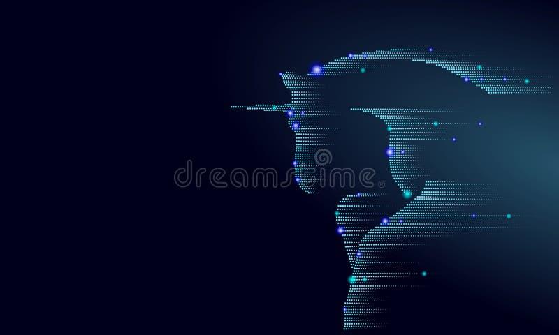 蓝色发光的马独角兽骑马夜空星 创造性的装饰不可思议的背景光亮的波斯菊空间垫铁神仙 向量例证