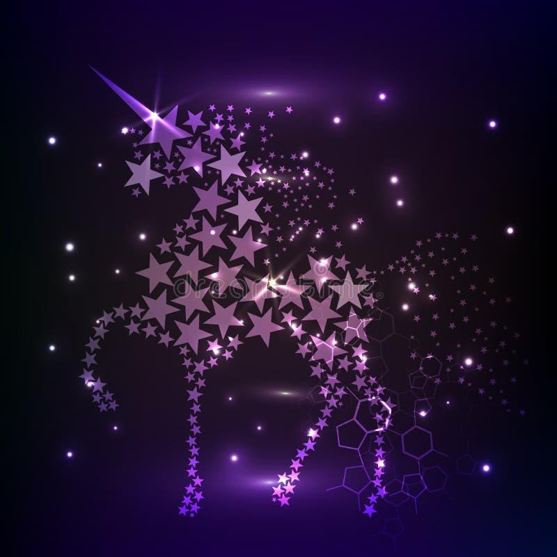 蓝色发光的马独角兽骑马夜空星 创造性的装饰不可思议的背景光亮的波斯菊空间 皇族释放例证