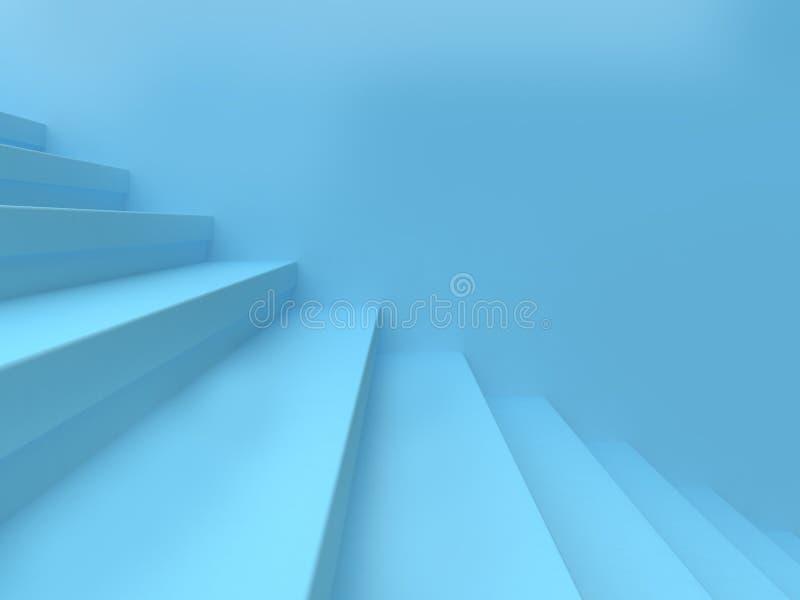 蓝色台阶和墙壁最小的背景3d回报 皇族释放例证