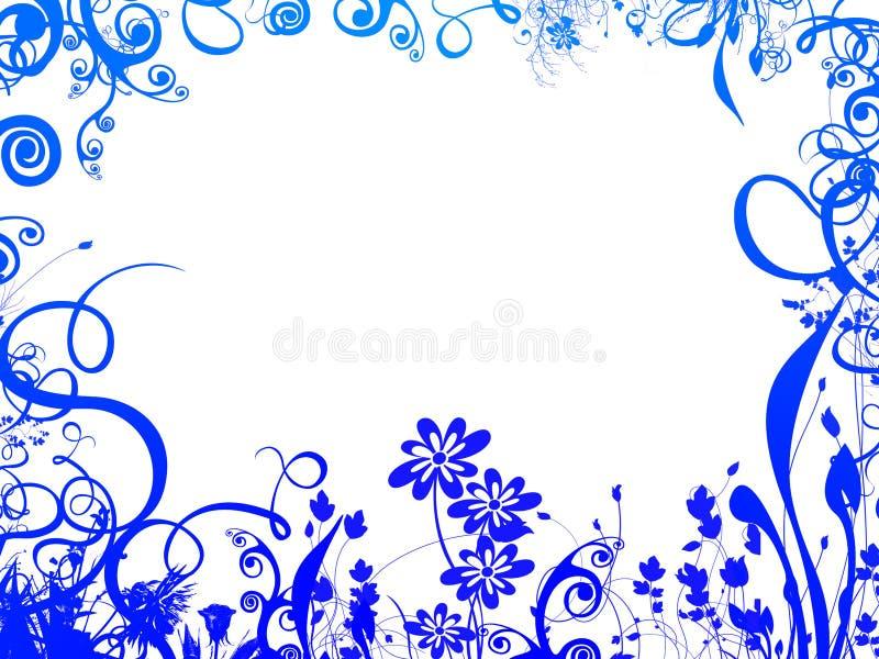 蓝色叶子框架 皇族释放例证