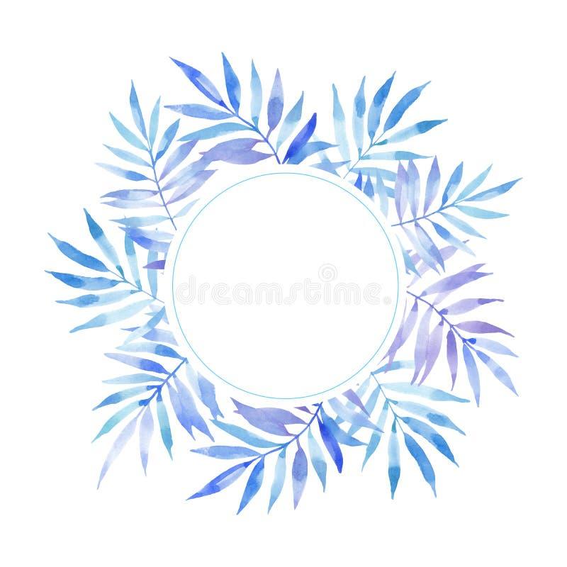 蓝色叶子蕨分支水彩圈子圆的框架  库存例证
