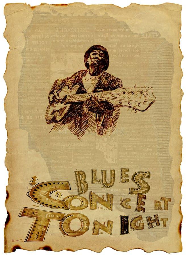 蓝色吉他人 库存例证