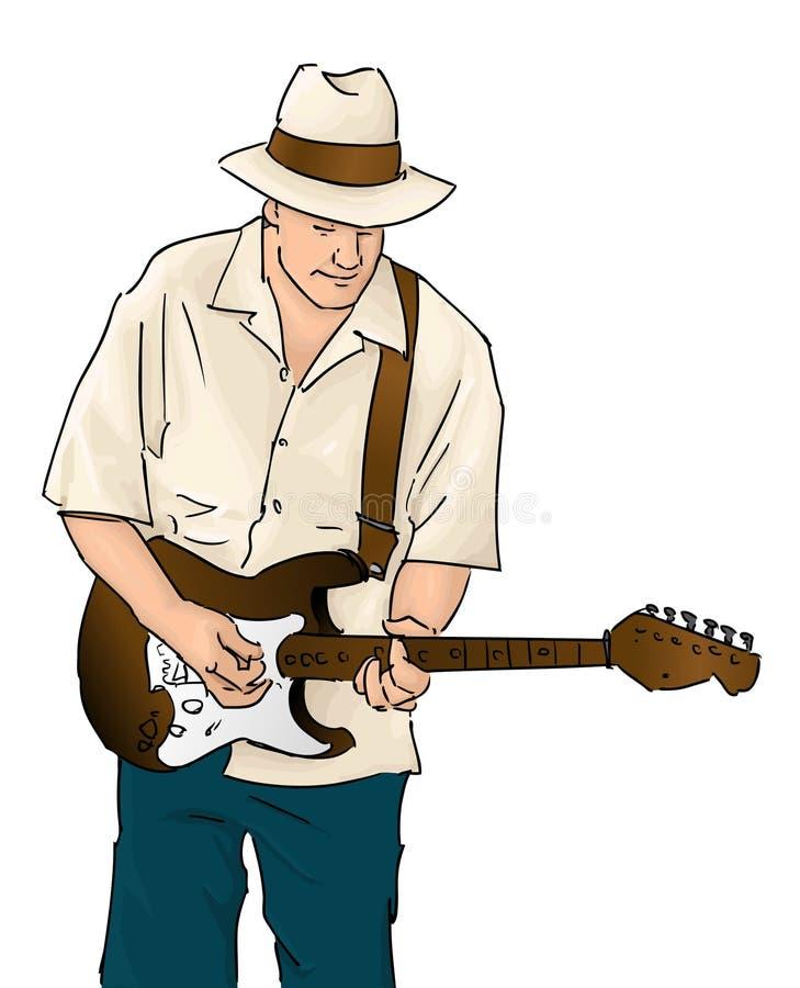 蓝色吉他音乐家 库存例证