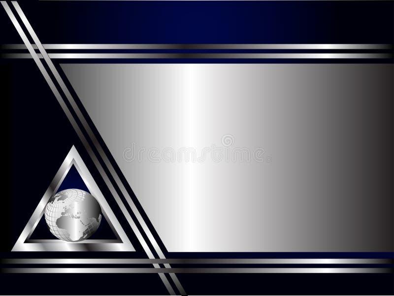 蓝色名片深刻的银色模板 向量例证