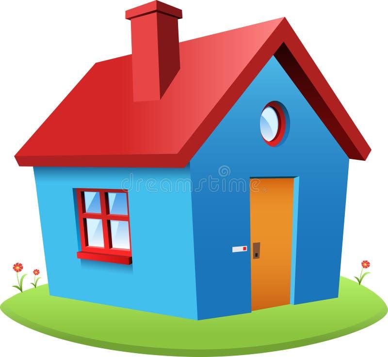 蓝色向量房子 库存例证