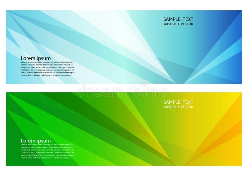蓝色和与拷贝空间,您的事务横幅的传染媒介例证的绿色几何抽象背景  库存例证