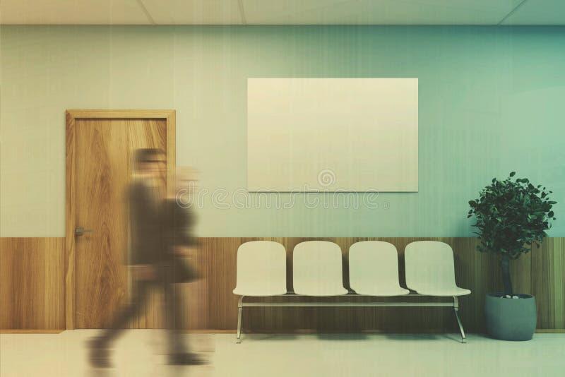 蓝色和木医院大厅,被定调子的海报 库存例证