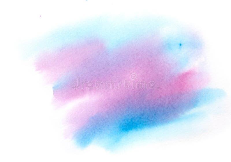 蓝色和桃红色水彩背景 库存例证
