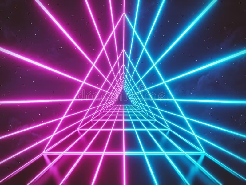 蓝色和桃红色色的霓虹发光的三角线隧道 未来派抽象科学幻想小说背景 3d?? 向量例证