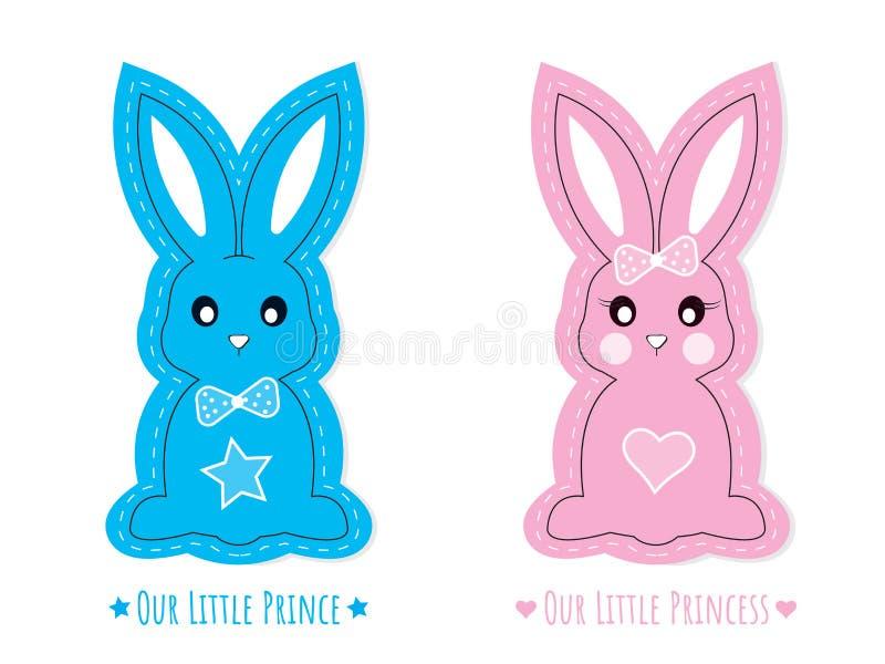 蓝色和桃红色逗人喜爱的兔宝宝字符、传染媒介隔绝在白色背景,兔子字符男孩和女孩 库存例证