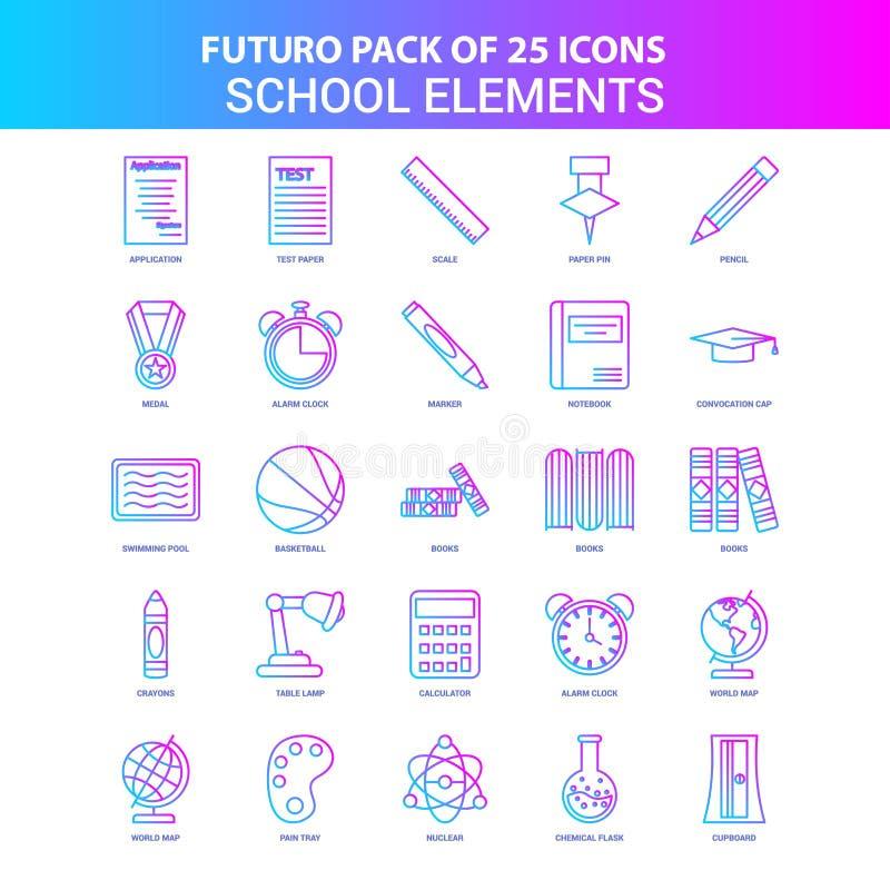 25蓝色和桃红色Futuro学校元素象组装 向量例证