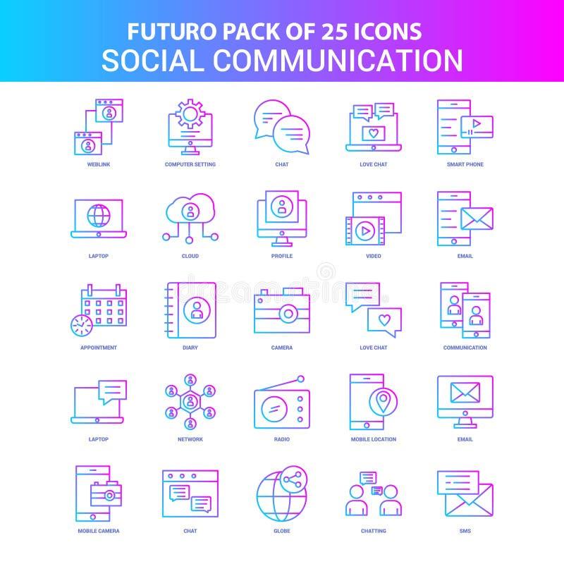 25蓝色和桃红色Futuro社会通信象组装 向量例证