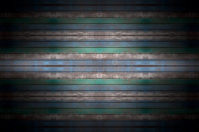 蓝色和棕色木背景、板条或者墙壁纹理 库存照片