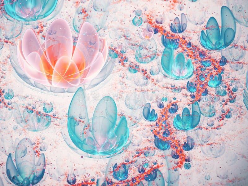 蓝色和橙色分数维花田 库存例证