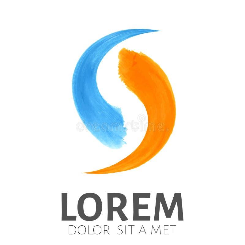 蓝色和橙色刷子冲程 企业象征标志 向量例证