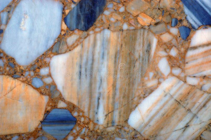蓝色和橙色大理石纹理背景 图库摄影