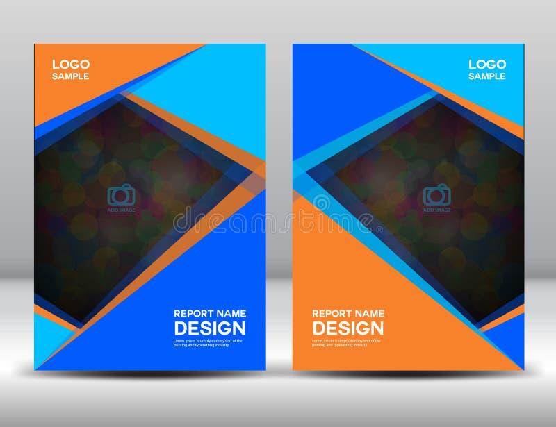蓝色和橙色盖子年终报告小册子飞行物书套po 库存例证